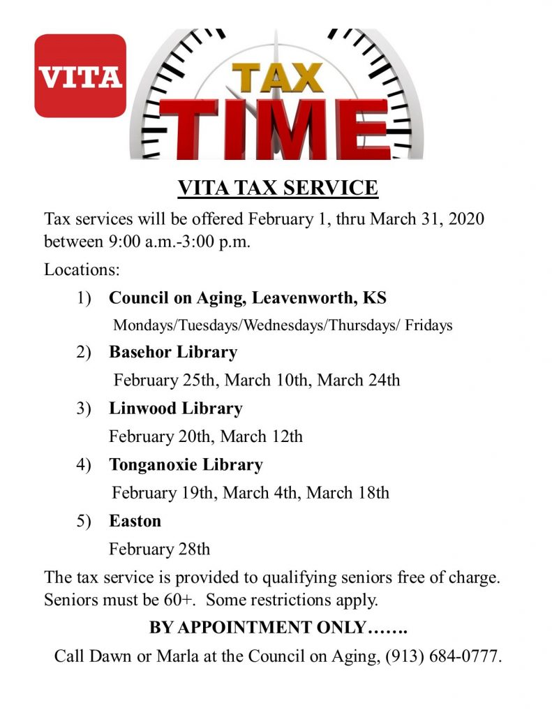 The Tonganoxie Public Library will be hosting VITA Tax Prep again this year. If you're a senior and need tax services, check out the flyer below!
